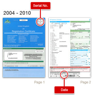 The V5C serial is at the top of the front page. The issue date is at the bottom of the second page.